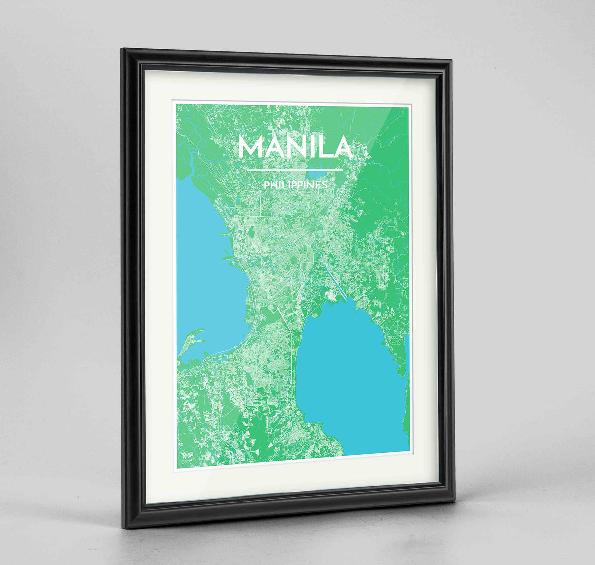 "Framed Manila Map Art Print 24x36"" Traditional Black frame Point Two Design Group"