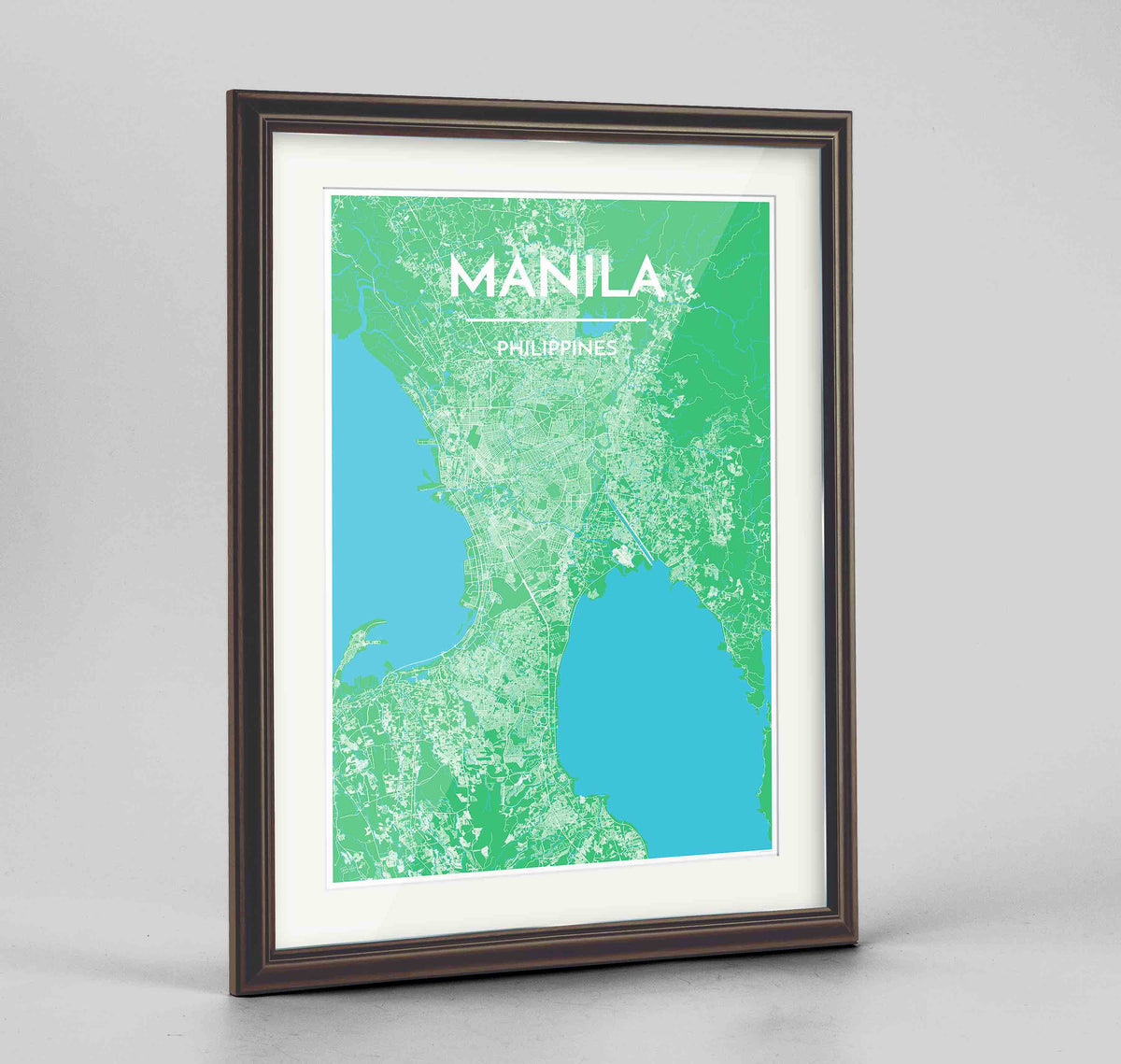 "Framed Manila Map Art Print 24x36"" Traditional Walnut frame Point Two Design Group"