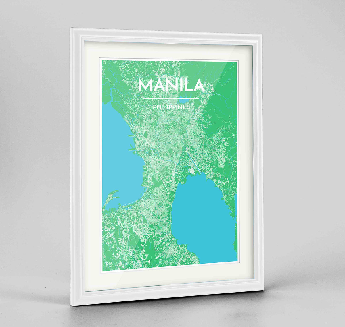 "Framed Manila Map Art Print 24x36"" Traditional White frame Point Two Design Group"