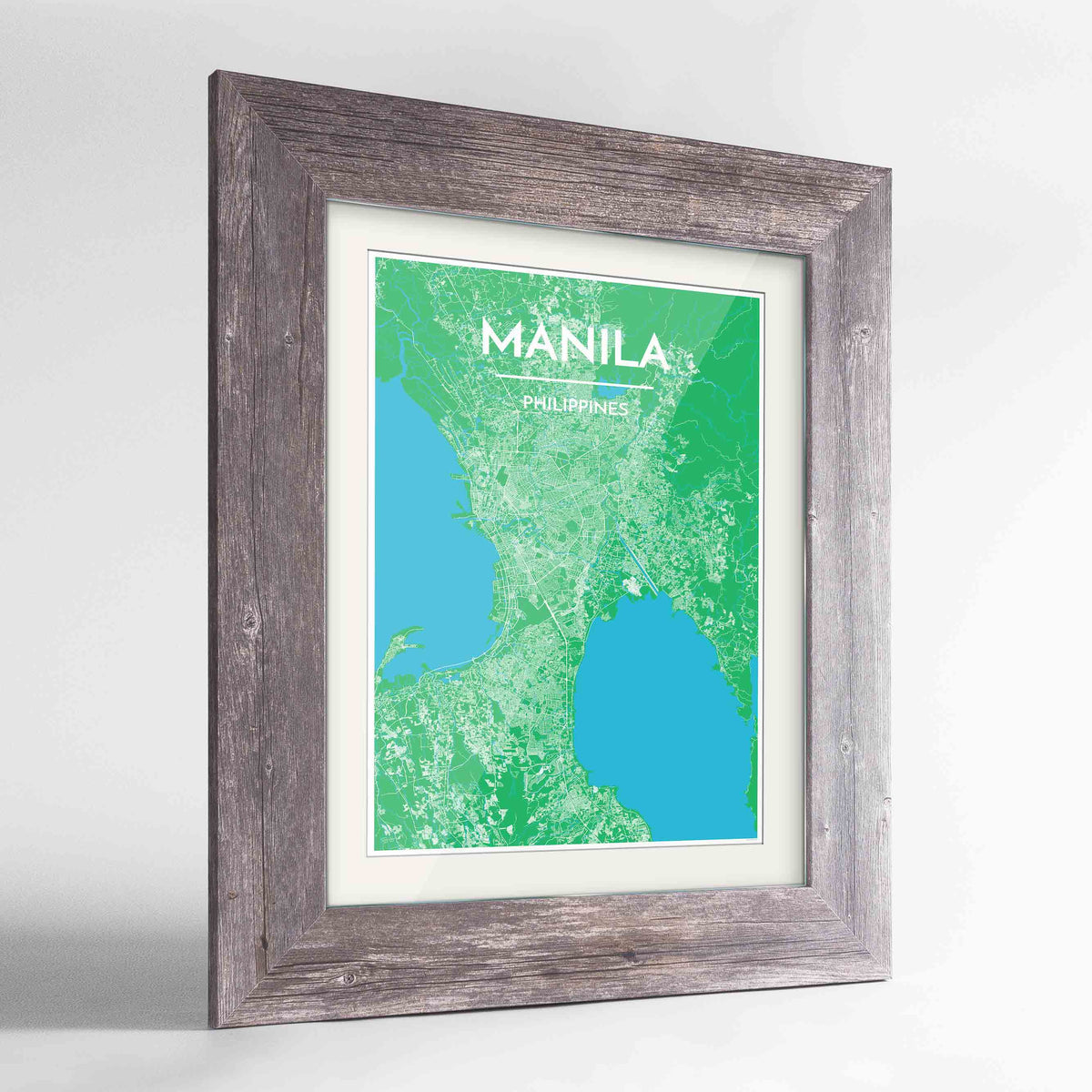 "Framed Manila Map Art Print 24x36"" Western Grey frame Point Two Design Group"