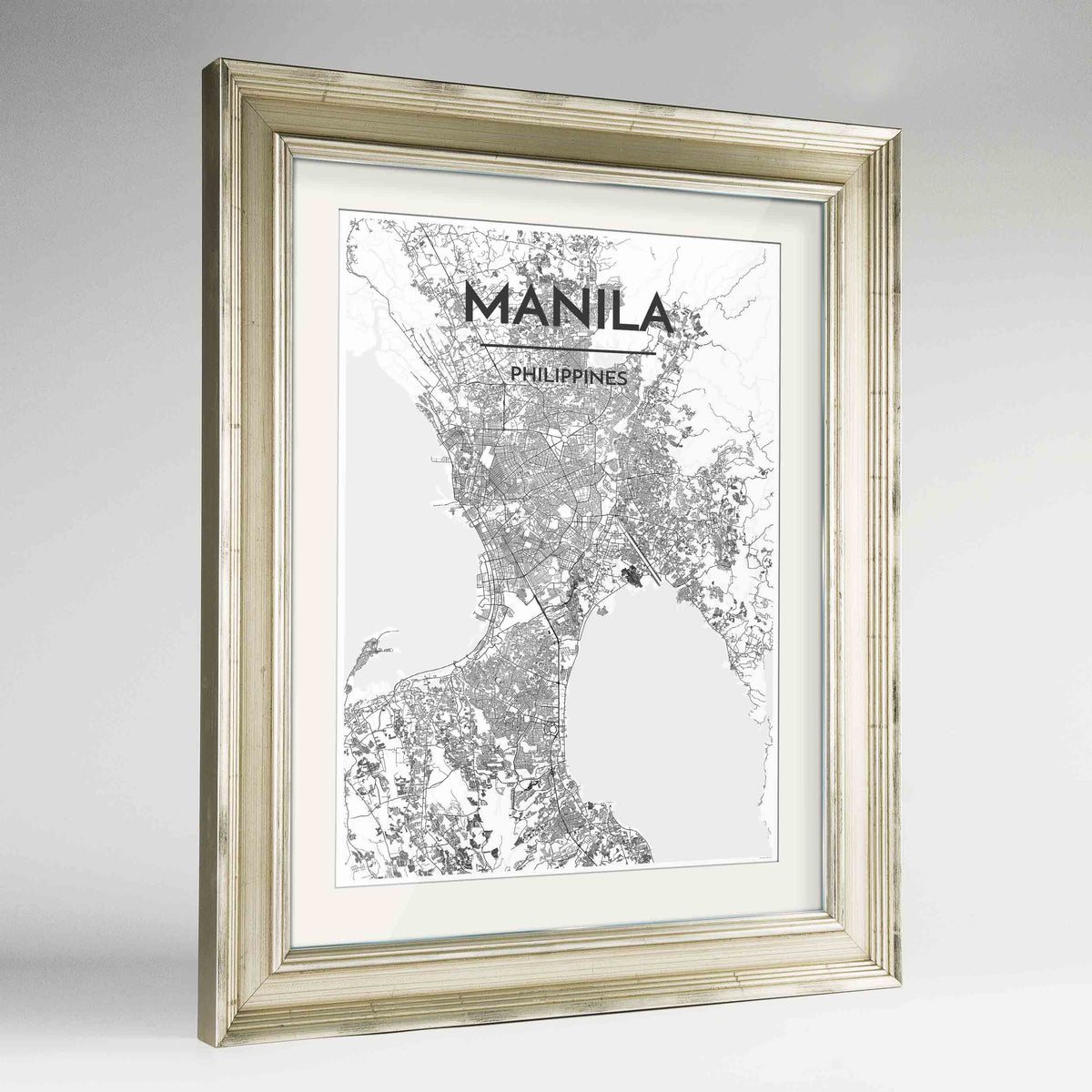 "Framed Manila Map Art Print 24x36"" Champagne frame Point Two Design Group"