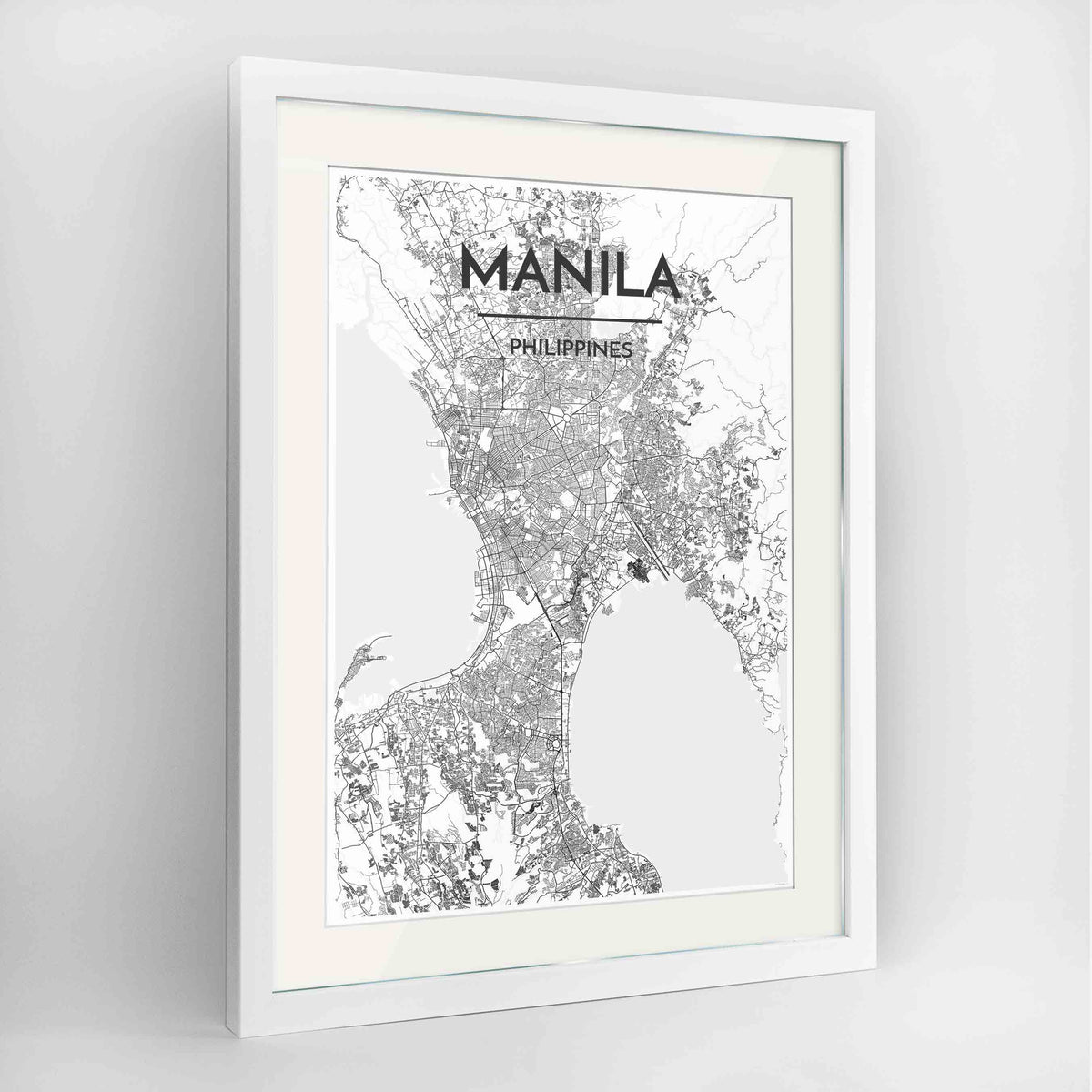 "Framed Manila Map Art Print 24x36"" Contemporary White frame Point Two Design Group"