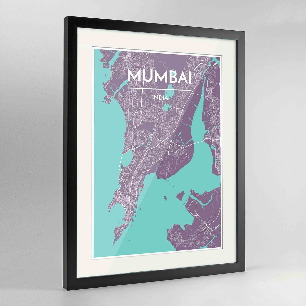 "Framed Mumbai Map Art Print 24x36"" Contemporary Black frame Point Two Design Group"