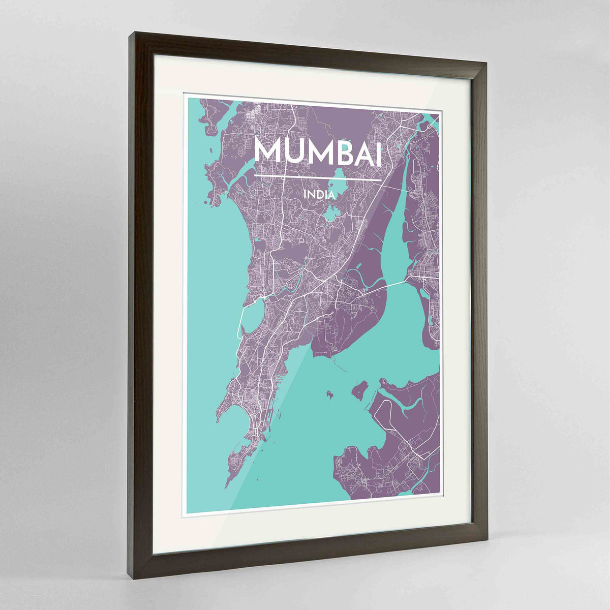 "Framed Mumbai Map Art Print 24x36"" Contemporary Walnut frame Point Two Design Group"