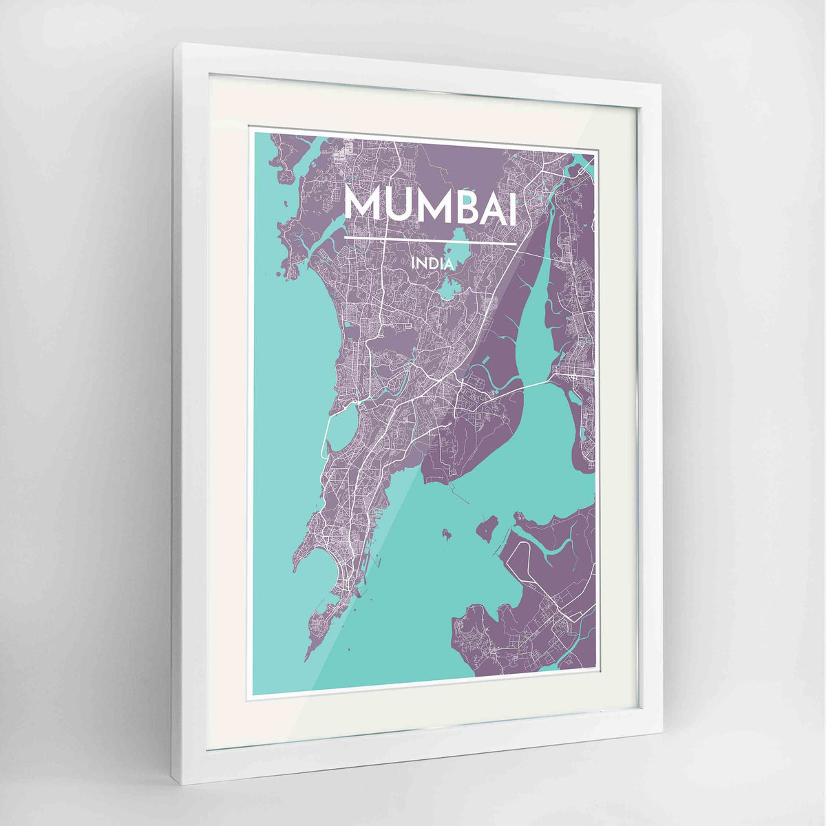 "Framed Mumbai Map Art Print 24x36"" Contemporary White frame Point Two Design Group"