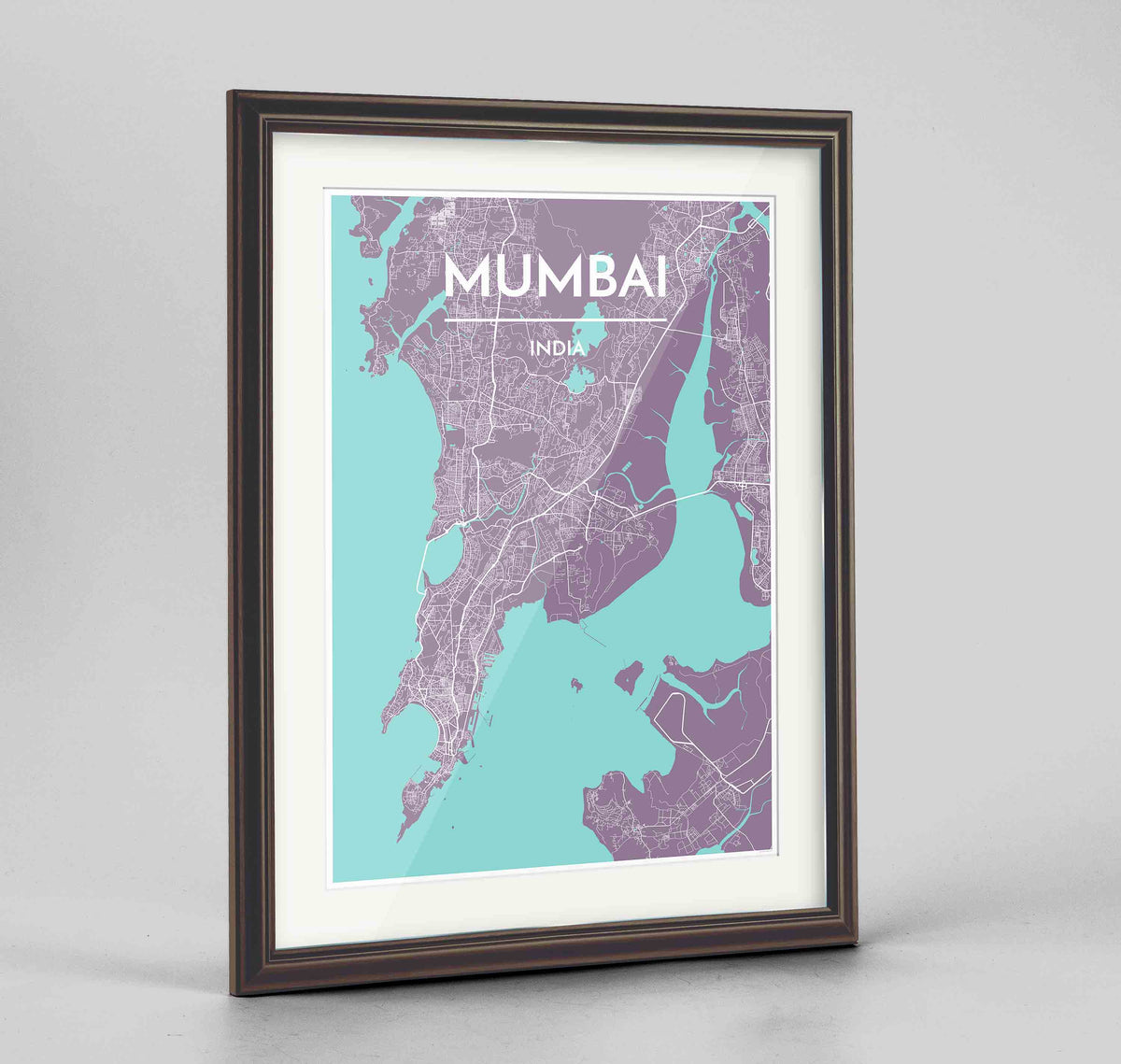 "Framed Mumbai Map Art Print 24x36"" Traditional Walnut frame Point Two Design Group"