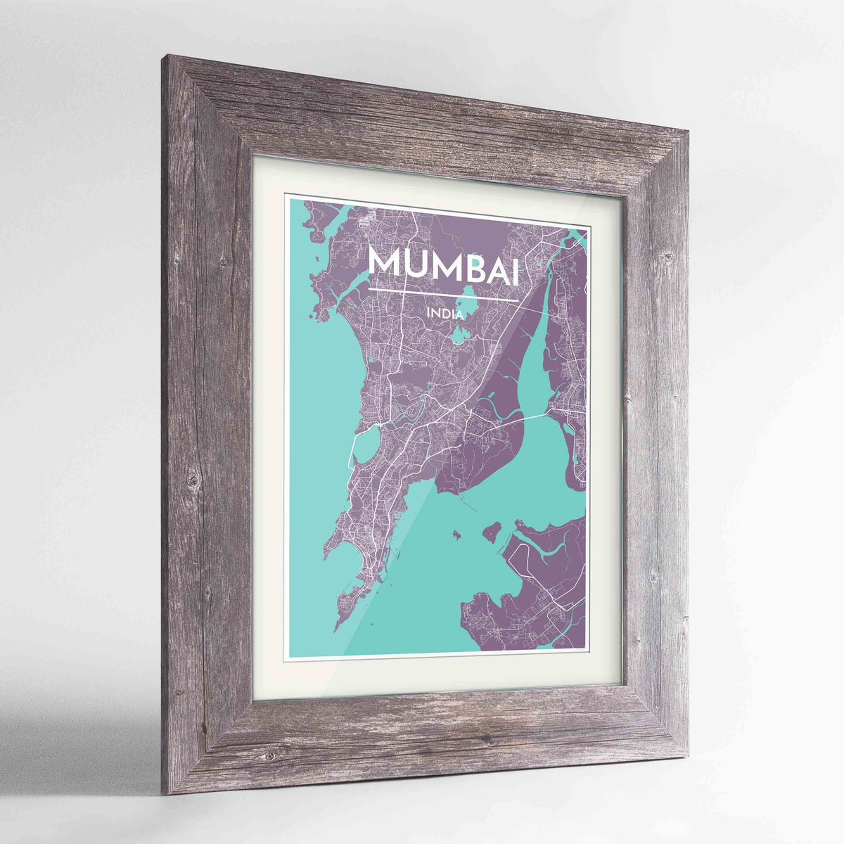 "Framed Mumbai Map Art Print 24x36"" Western Grey frame Point Two Design Group"
