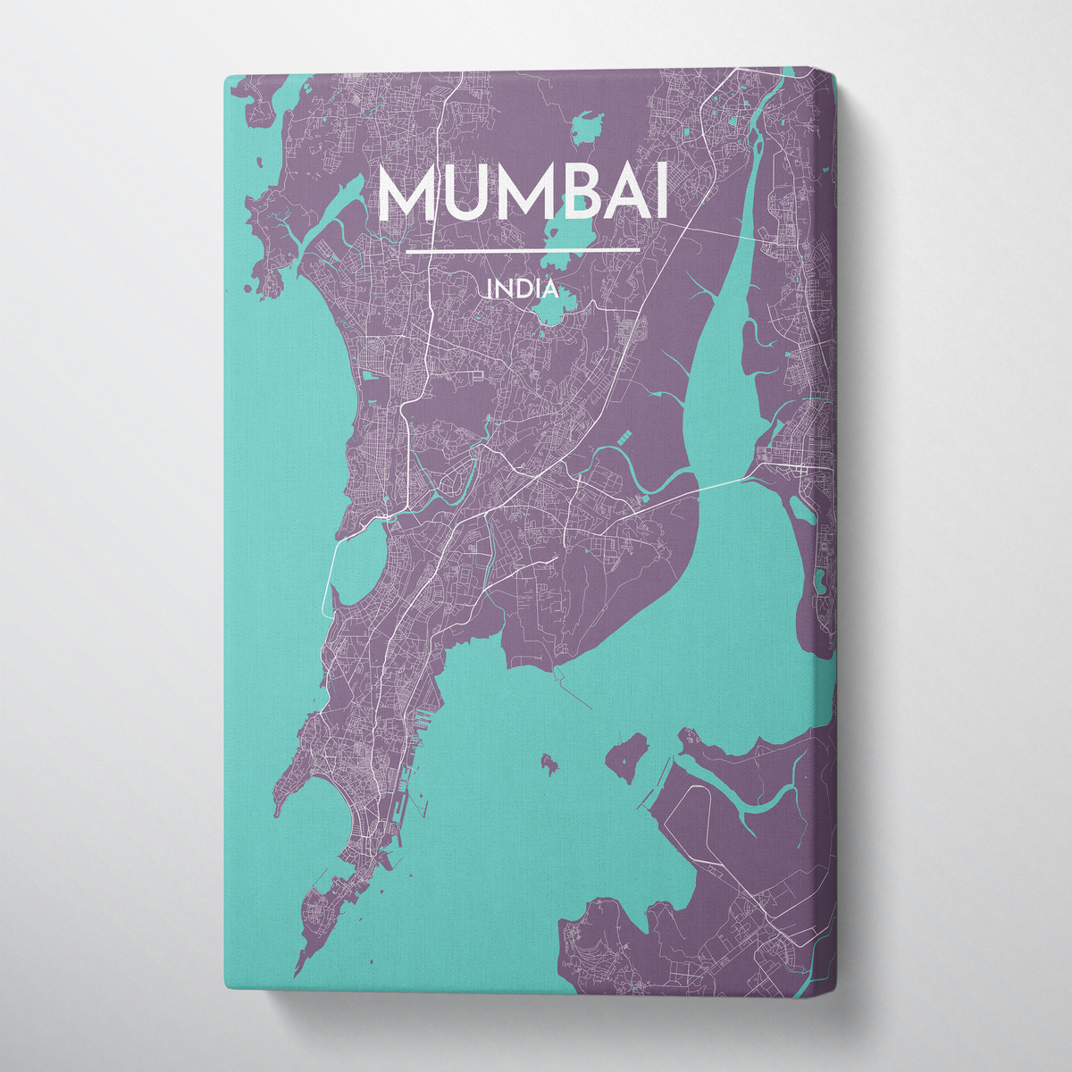Mumbai City Map Canvas Wrap - Point Two Design