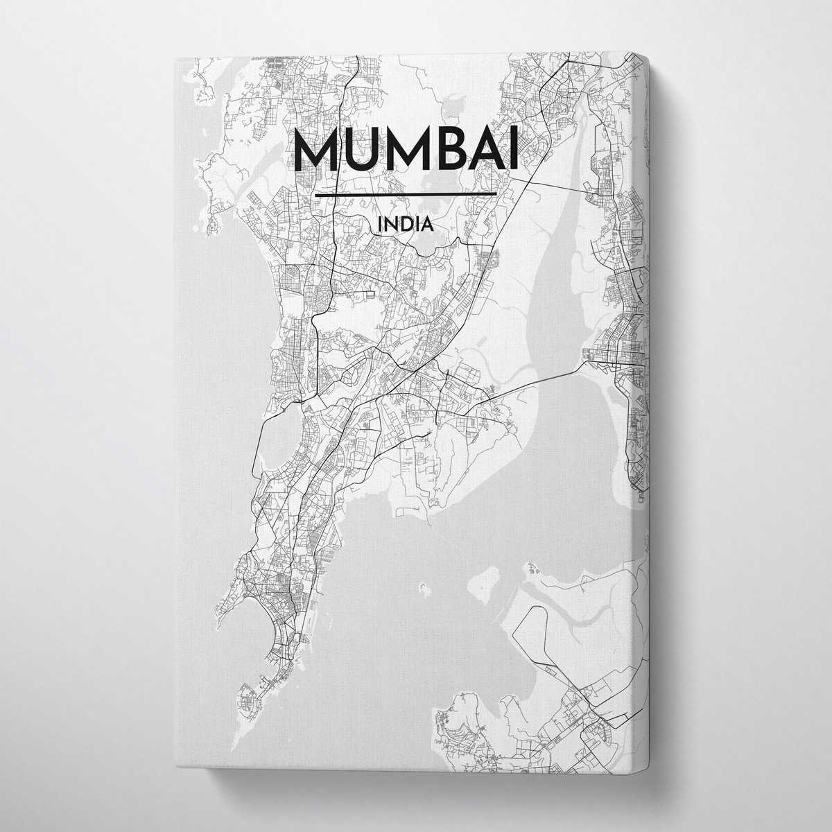 Mumbai City Map Canvas Wrap - Point Two Design - Black & White Print