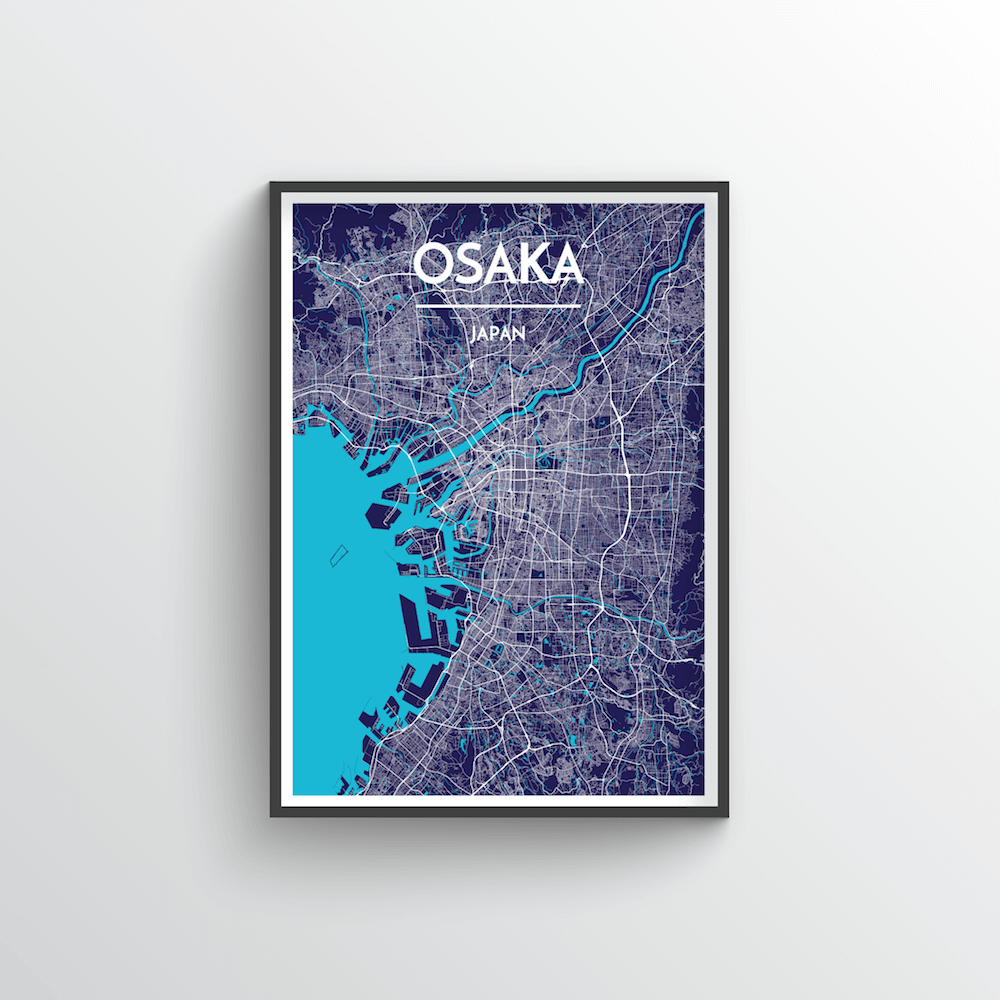 Osaka City Map Art Print - Point Two Design - Black & White Print