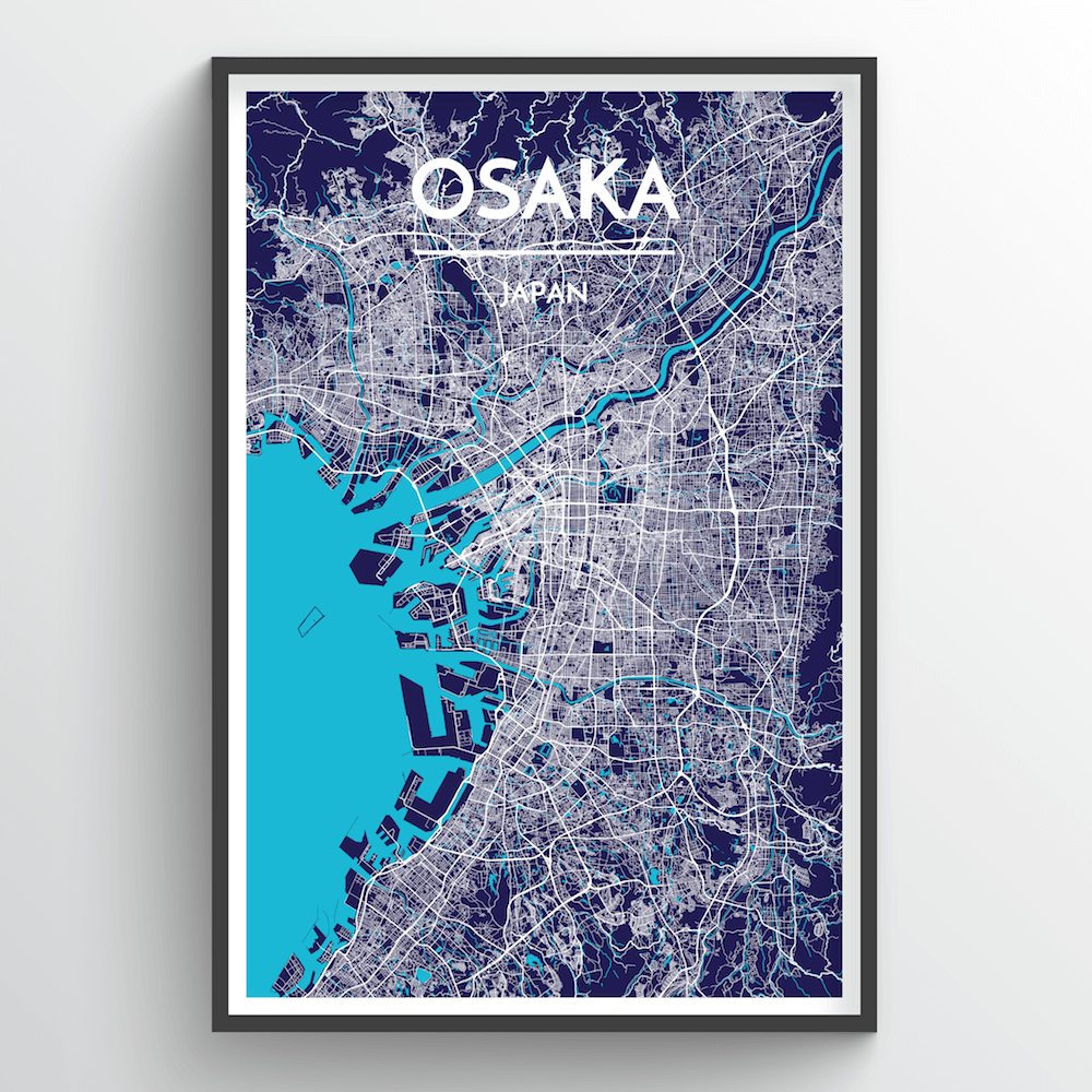 Osaka City Map Art Print - Point Two Design