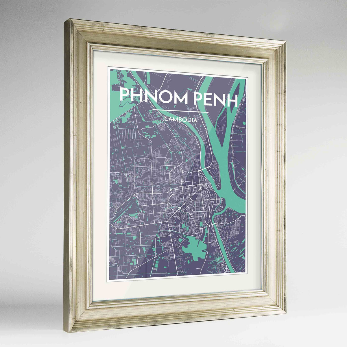 "Framed Phnom Penh Map Art Print 24x36"" Champagne frame Point Two Design Group"