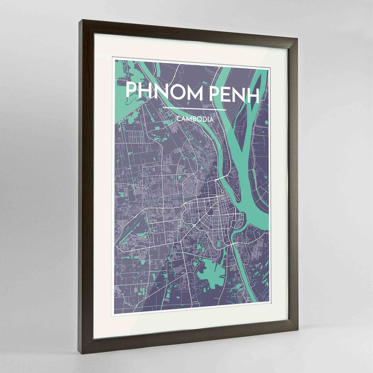 "Framed Phnom Penh Map Art Print 24x36"" Contemporary Walnut frame Point Two Design Group"