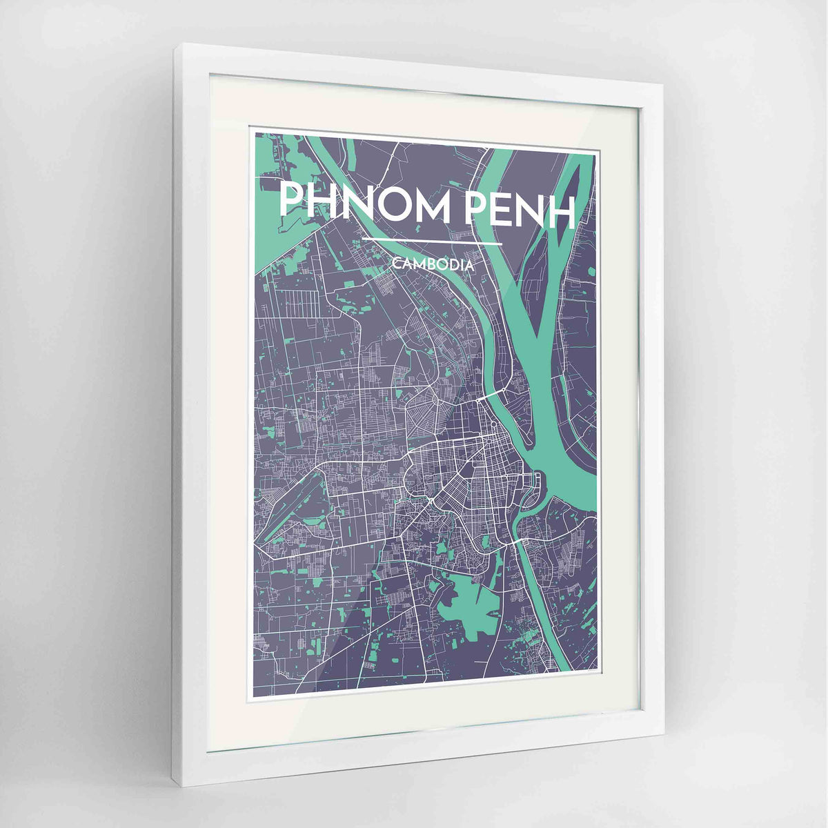 "Framed Phnom Penh Map Art Print 24x36"" Contemporary White frame Point Two Design Group"
