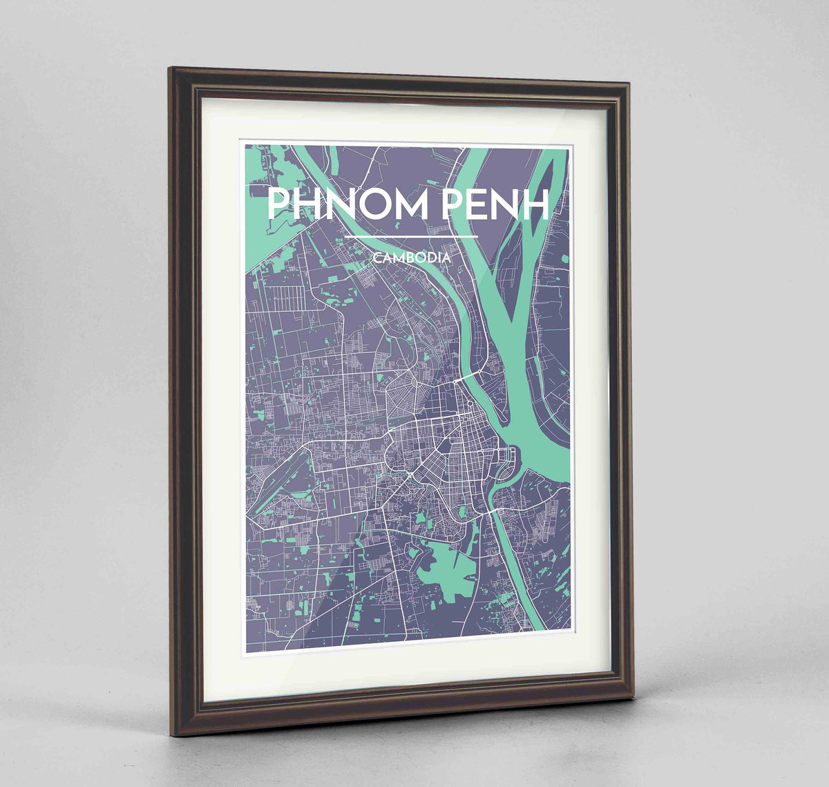 "Framed Phnom Penh Map Art Print 24x36"" Traditional Walnut frame Point Two Design Group"