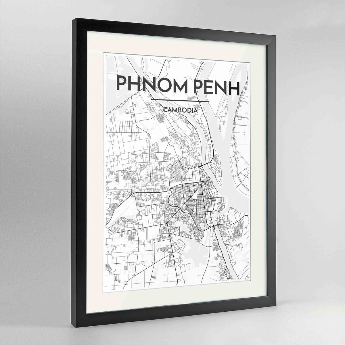 "Framed Phnom Penh Map Art Print 24x36"" Contemporary Black frame Point Two Design Group"