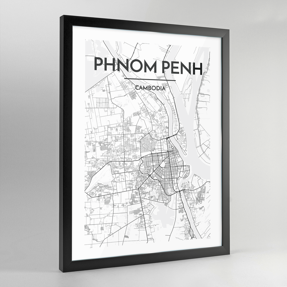 Phnom Penh Map Art Print - Framed