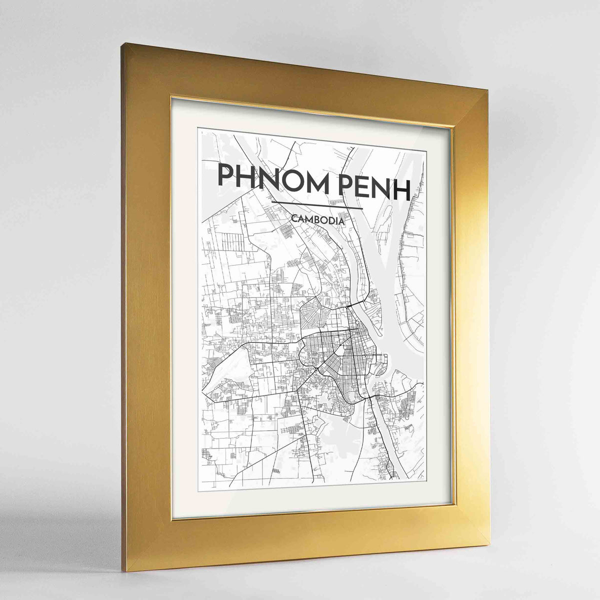 "Framed Phnom Penh Map Art Print 24x36"" Gold frame Point Two Design Group"