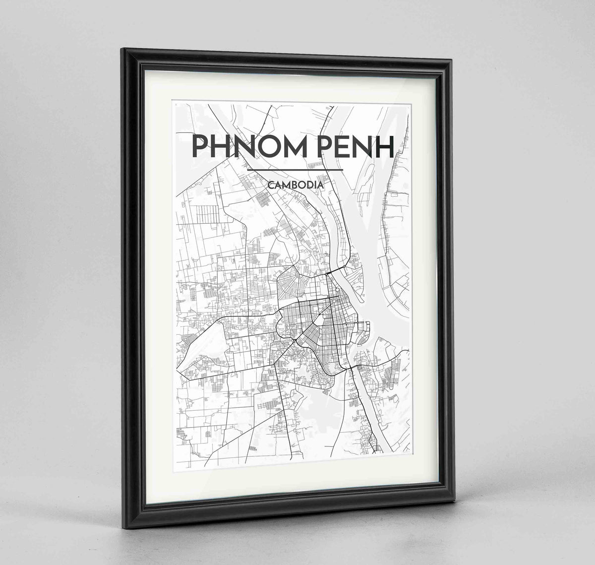 "Framed Phnom Penh Map Art Print 24x36"" Traditional Black frame Point Two Design Group"
