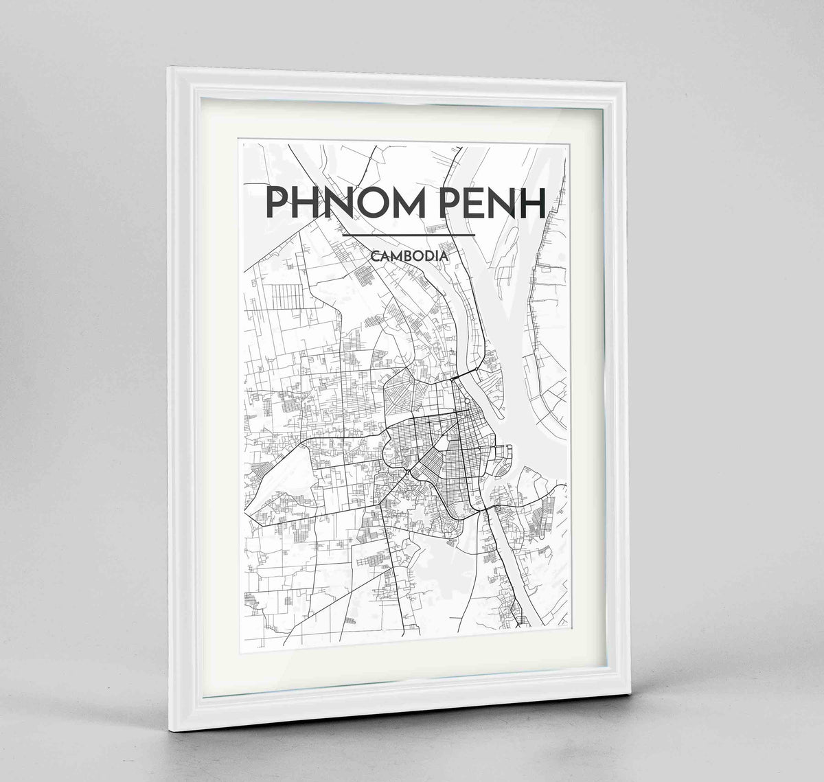 "Framed Phnom Penh Map Art Print 24x36"" Traditional White frame Point Two Design Group"