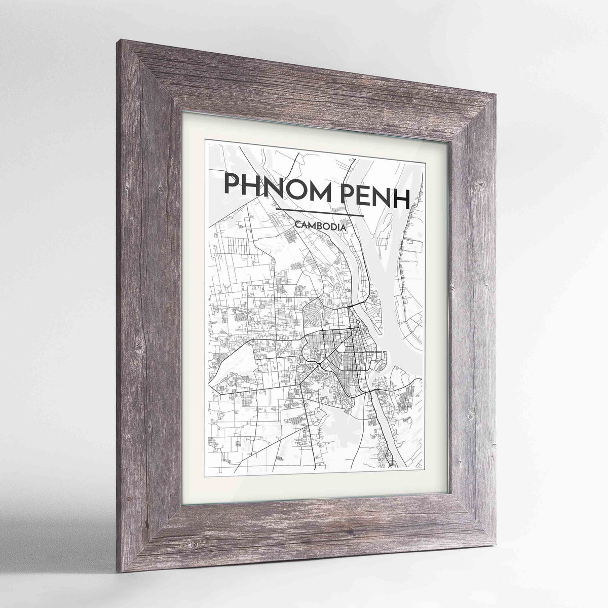 "Framed Phnom Penh Map Art Print 24x36"" Western Grey frame Point Two Design Group"