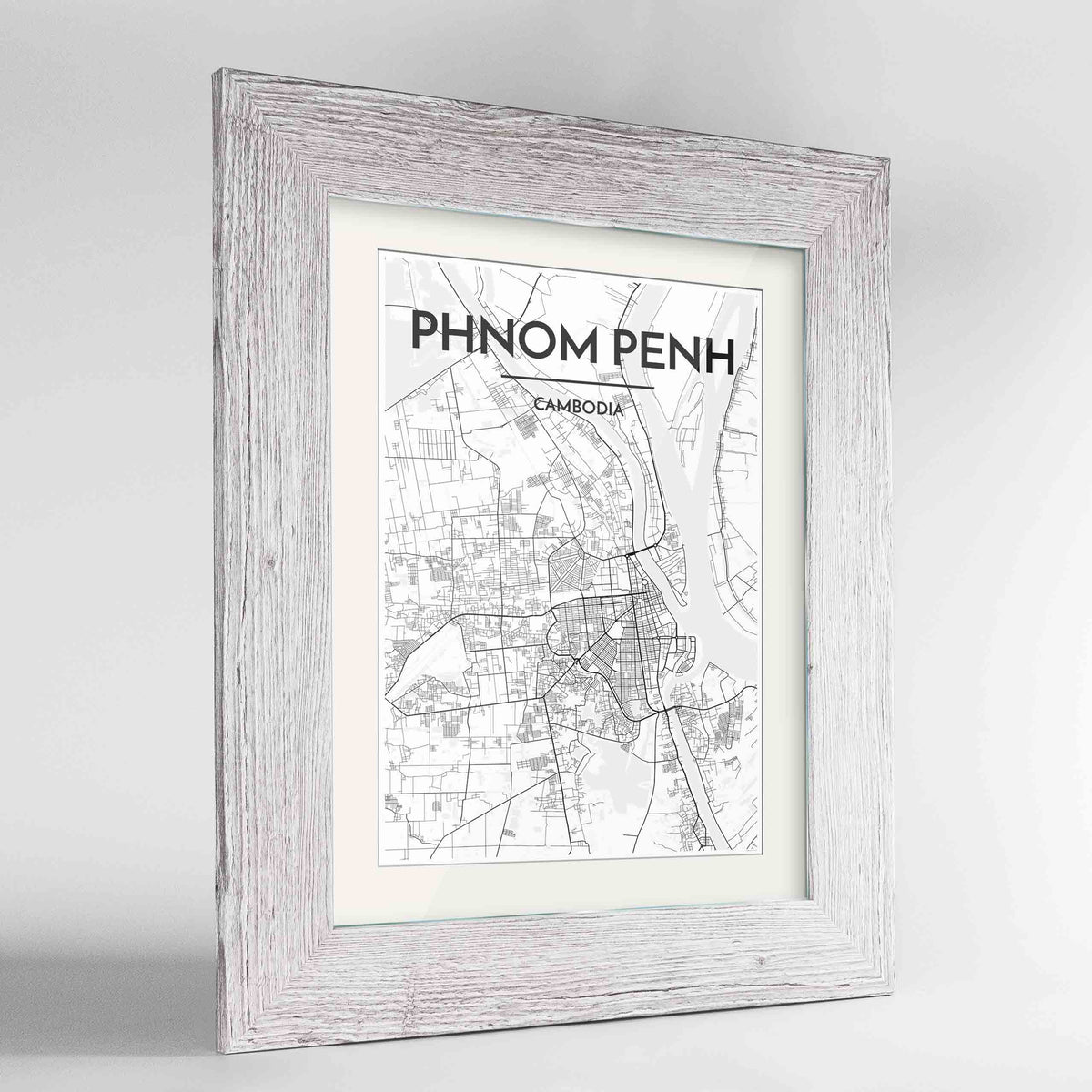 "Framed Phnom Penh Map Art Print 24x36"" Western White frame Point Two Design Group"