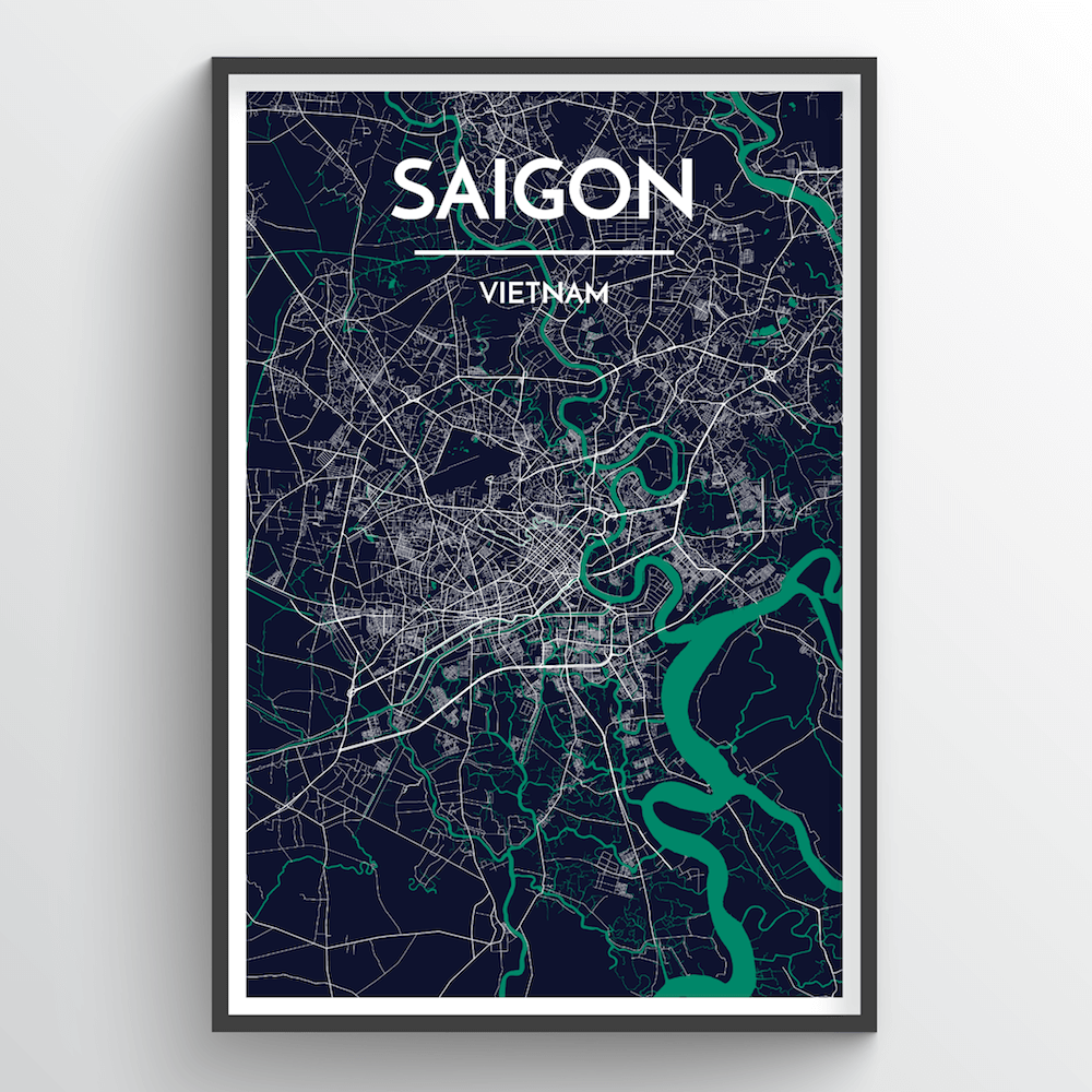 Saigon City Map Art Print - Point Two Design