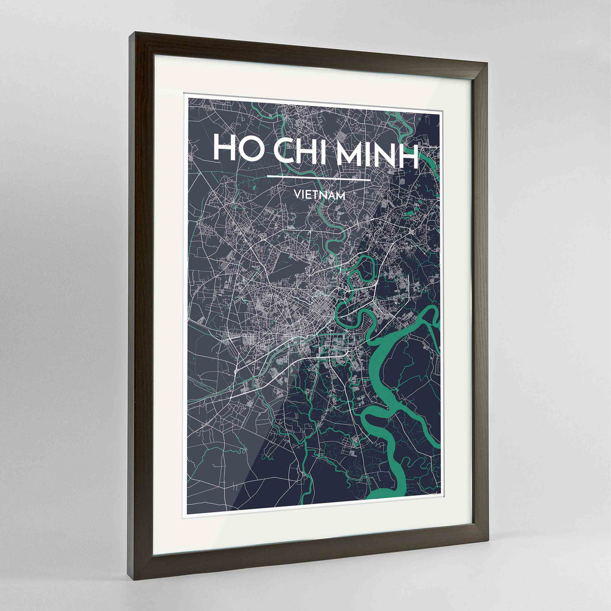 "Framed Ho Chi Minh Map Art Print 24x36"" Contemporary Walnut frame Point Two Design Group"