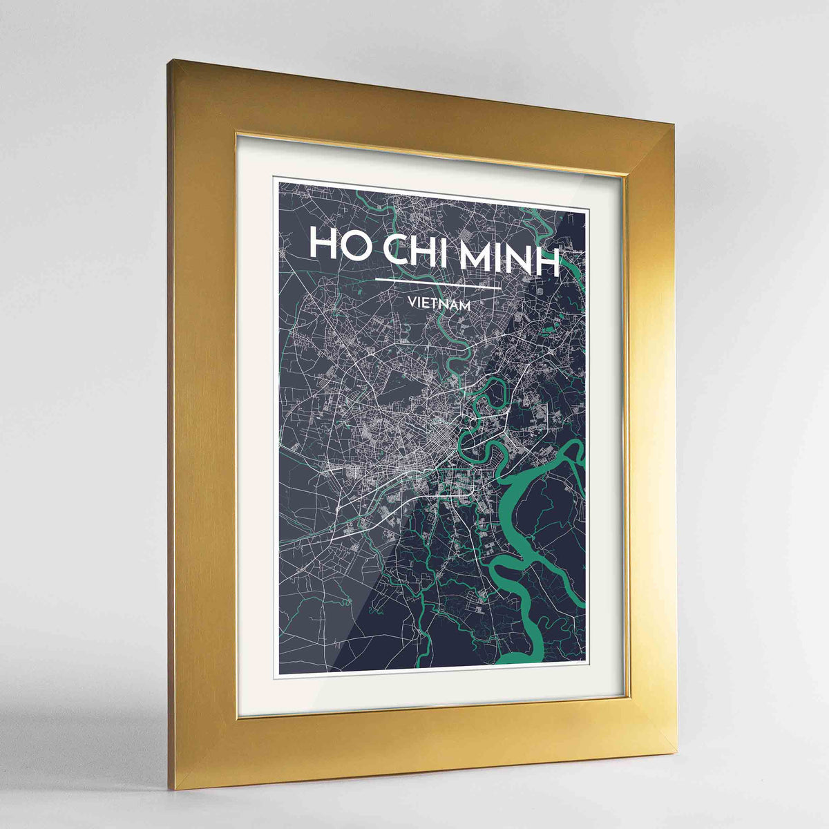"Framed Ho Chi Minh Map Art Print 24x36"" Gold frame Point Two Design Group"