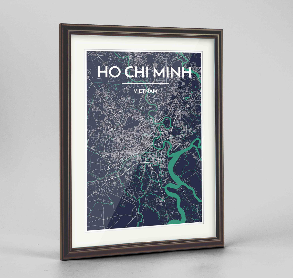 "Framed Ho Chi Minh Map Art Print 24x36"" Traditional Walnut frame Point Two Design Group"