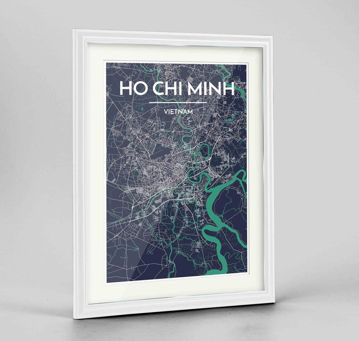 "Framed Ho Chi Minh Map Art Print 24x36"" Traditional White frame Point Two Design Group"