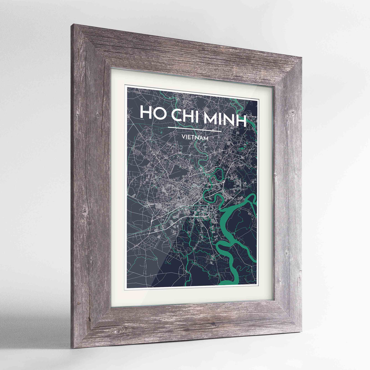 "Framed Ho Chi Minh Map Art Print 24x36"" Western Grey frame Point Two Design Group"