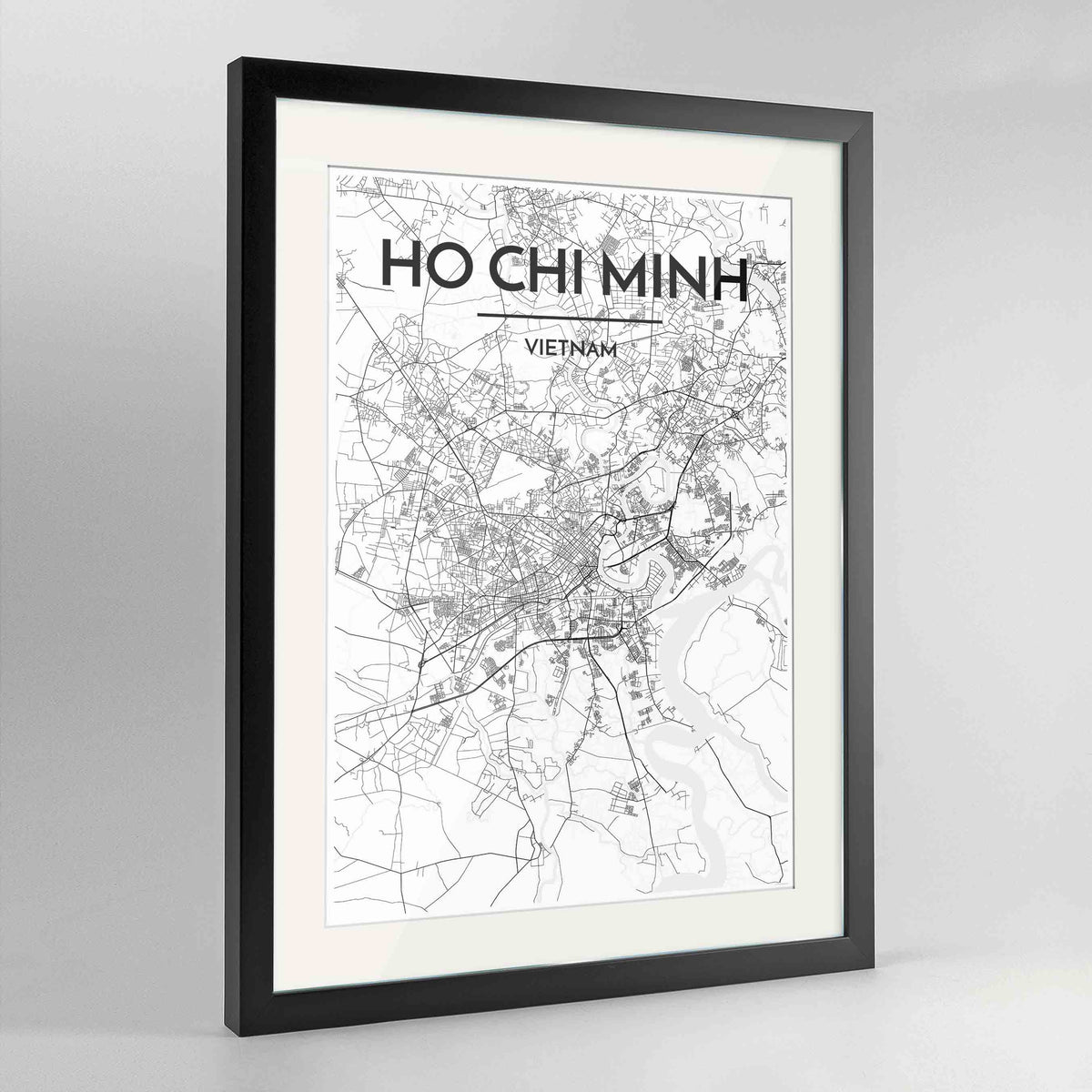 "Framed Ho Chi Minh Map Art Print 24x36"" Contemporary Black frame Point Two Design Group"