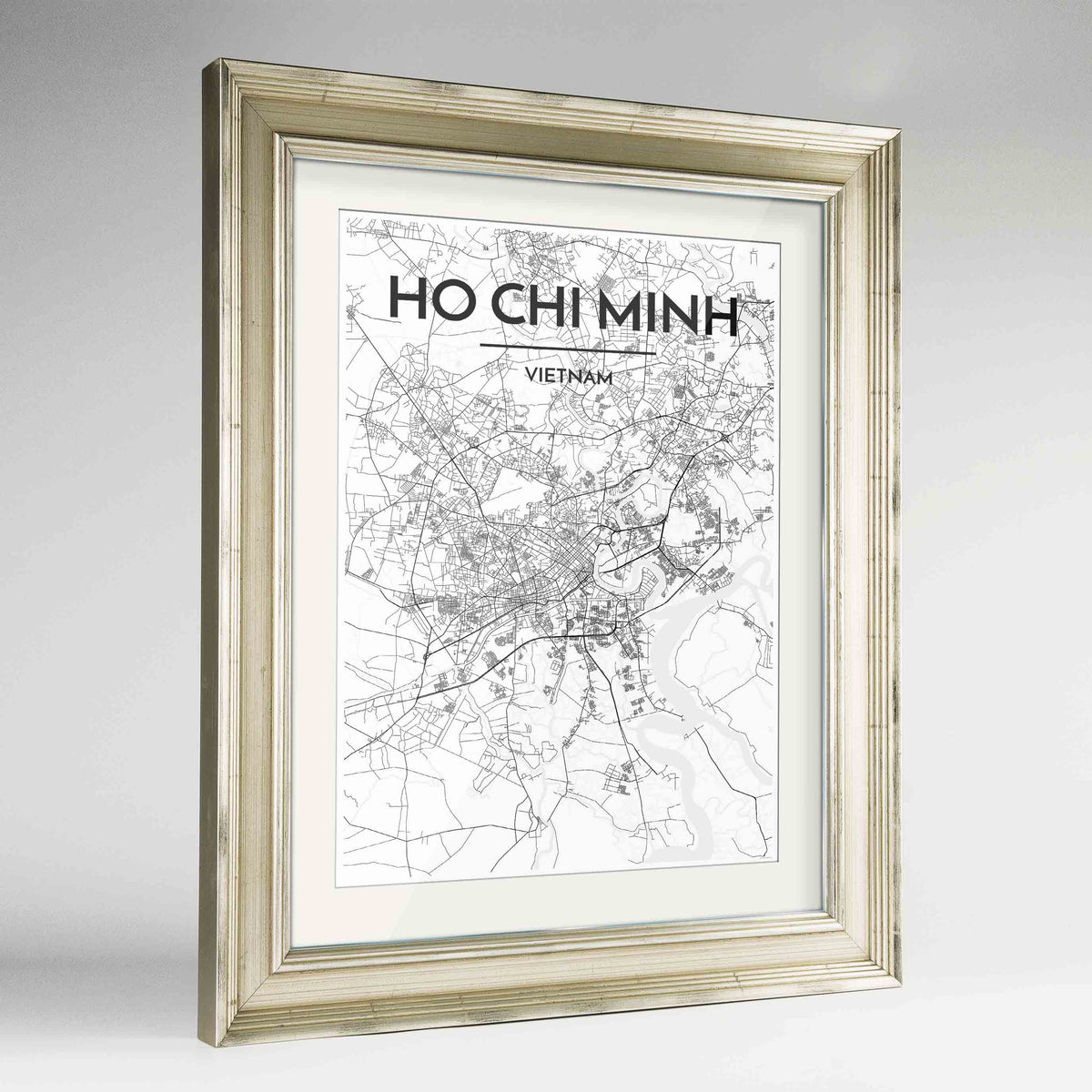"Framed Ho Chi Minh Map Art Print 24x36"" Champagne frame Point Two Design Group"