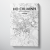 Ho Chi Minh City Map Canvas Wrap - Point Two Design - Black & White Print