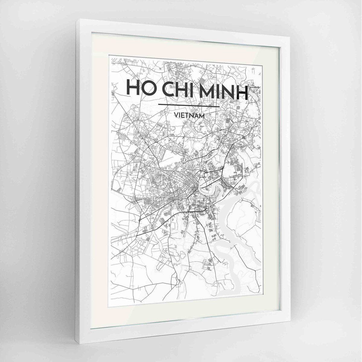 "Framed Ho Chi Minh Map Art Print 24x36"" Contemporary White frame Point Two Design Group"