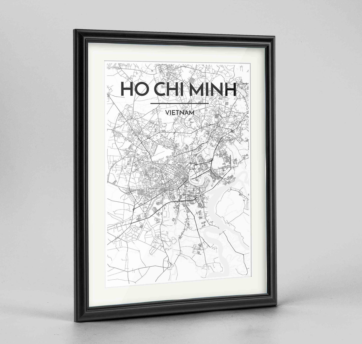"Framed Ho Chi Minh Map Art Print 24x36"" Traditional Black frame Point Two Design Group"
