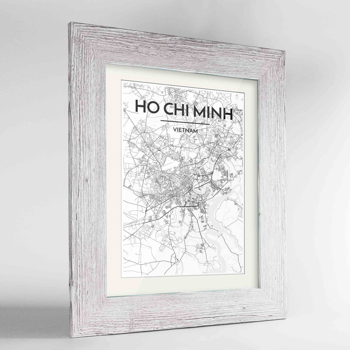 "Framed Ho Chi Minh Map Art Print 24x36"" Western White frame Point Two Design Group"