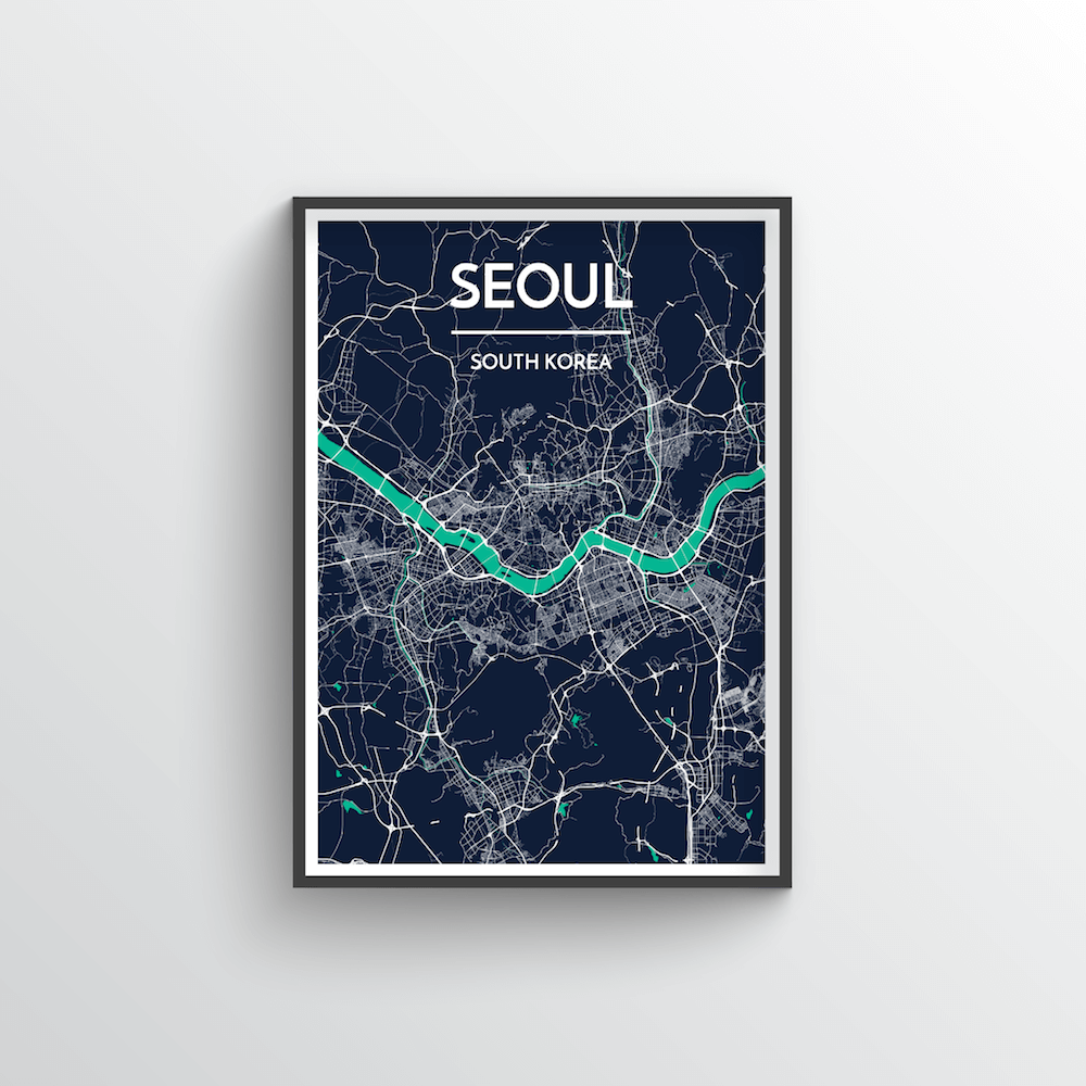 Seoul City Map Art Print - Point Two Design - Black & White Print