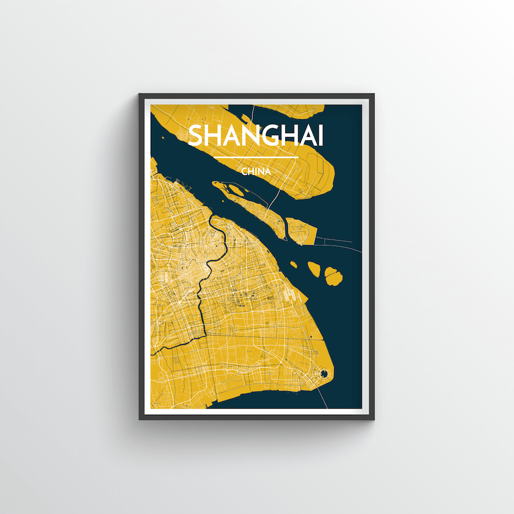 Shanghai City Map Art Print - Point Two Design - Black & White Print