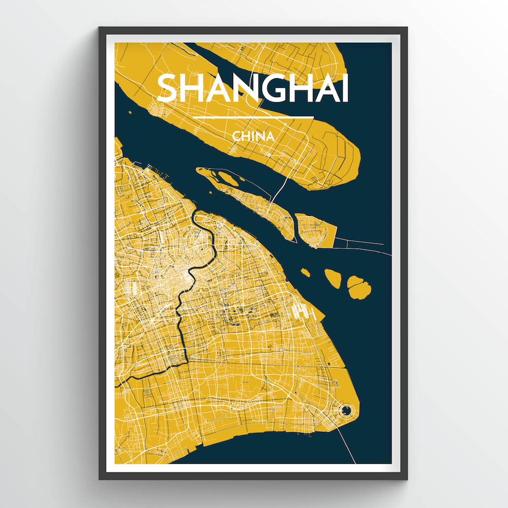 Shanghai City Map Art Print - Point Two Design