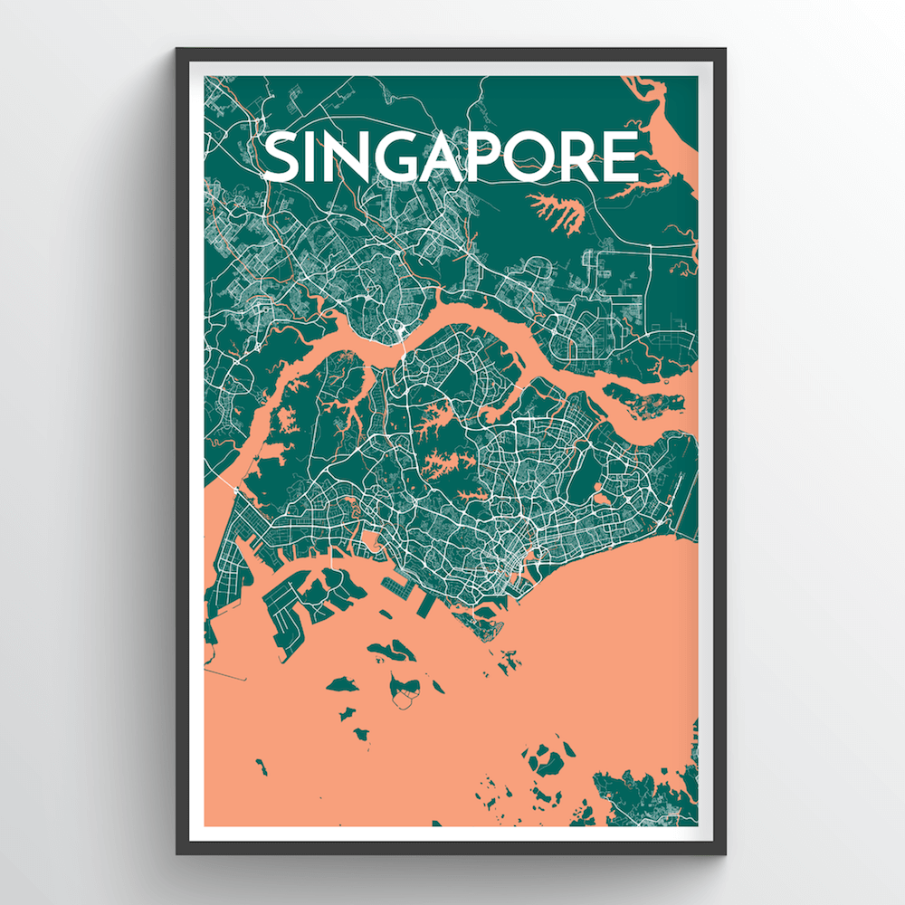 Singapore City Map Art Print - Point Two Design