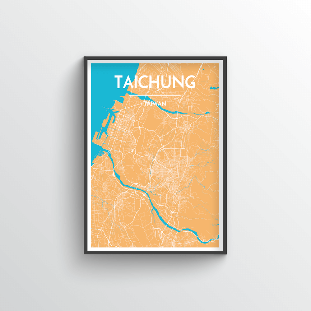 Taichung City Map Art Print - Point Two Design - Black & White Print