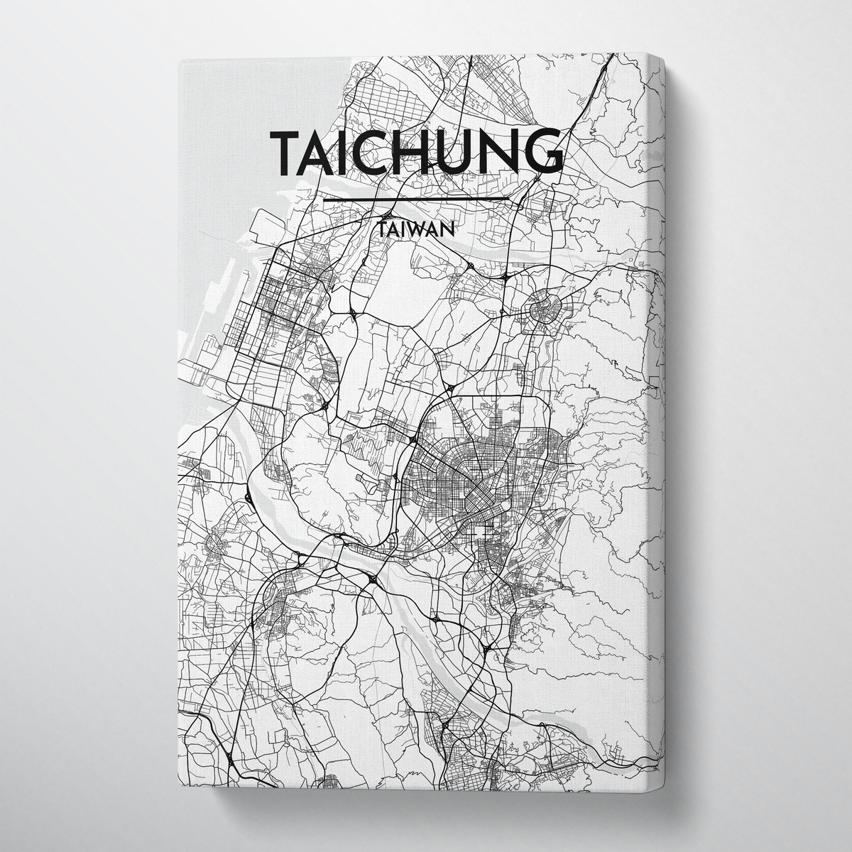 Taichung City Map Canvas Wrap - Point Two Design - Black & White Print