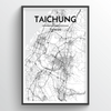Taichung City Map Art Print - Point Two Design