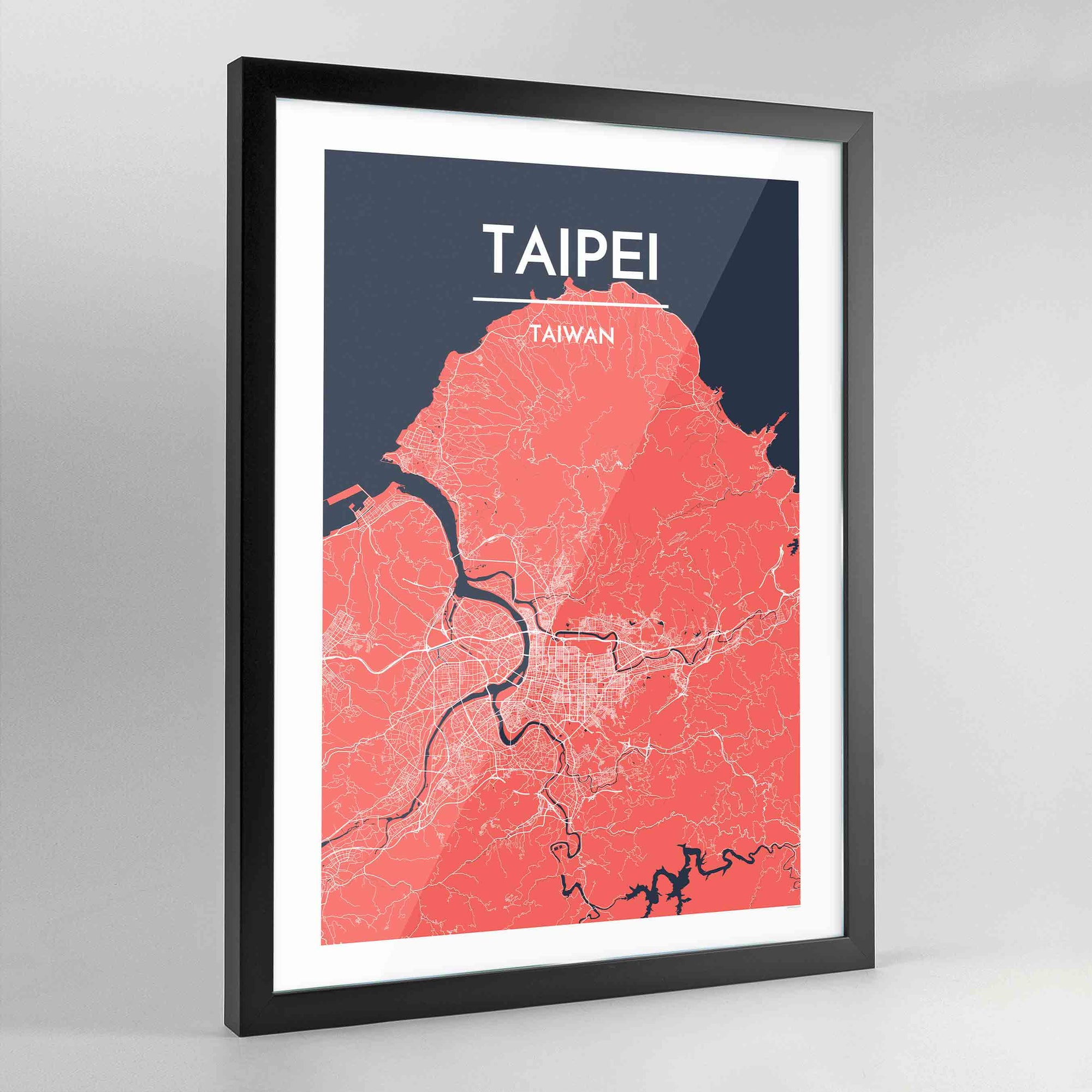 Framed Taipei City Map Art Print - Point Two Design