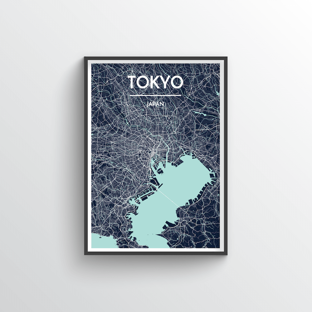 Tokyo City Map Art Print - Point Two Design - Black & White Print