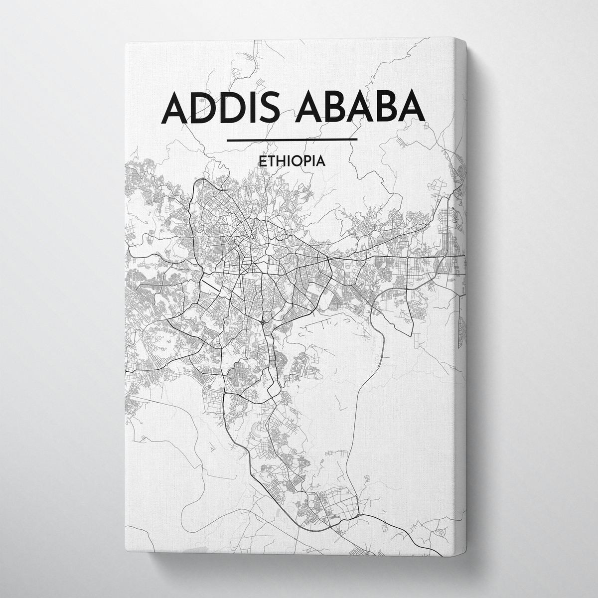 Addis Ababa Map Canvas Wrap - Point Two Design