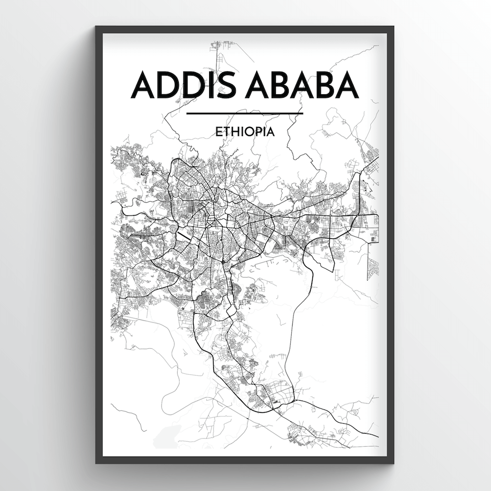 Addis Ababa Map Art Print - Point Two Design