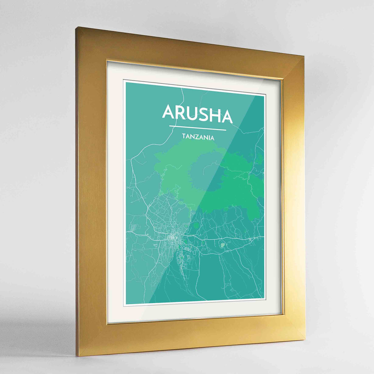 "Framed Arusha Map Art Print 24x36"" Gold frame Point Two Design Group"